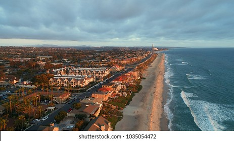 Birds eye view of Carlsbad village and miles of beach in north county San Diego California