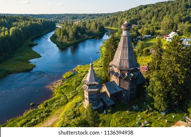 Bird's eye view of the Church of St. Nicholas (built 1696) in Soginicy village and Vazhinka river, Podporozhysky district. Green forests of Leningrad region and Republic of Karelia, Russia.