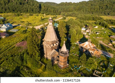 Bird's eye view of the Church of St. Nicholas (built 1696) in Soginicy village, Podporozhysky district. Green forests of Leningrad region and Republic of Karelia, Russia.