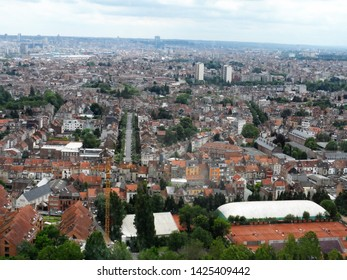 Bird's eye view of the city of Brussels, Belgium as seen from the Atomium