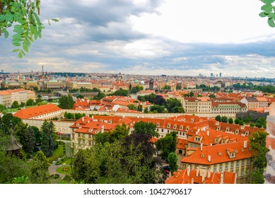 Bird's eye view of the city of Prague with overcast sky