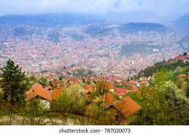 Bird's eye view of the city of Sarajevo, Bosnia