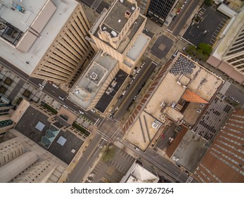 A bird's eye view of downtown Raleigh, NC in March.