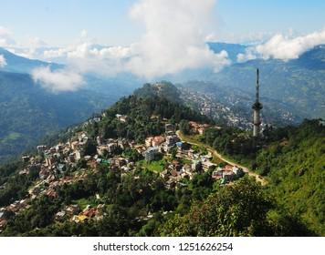 Bird's eye view of Gangtok City, Sikkim.