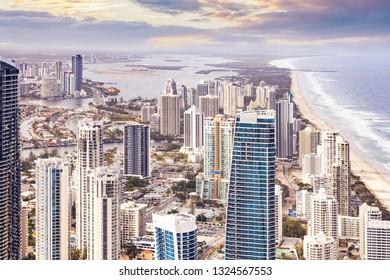 Birds eye view of Gold Coast city and ocean coastline in Queensland, Australia