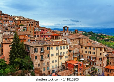 Bird's Eye View to Historic Center City of Perugia, Italy
