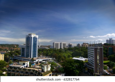 Birds eye view of Kampala downtown with blue sky