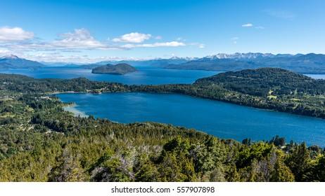A bird's eye view of the Lake Nahuel Huapi in Bariloche, Argentina.