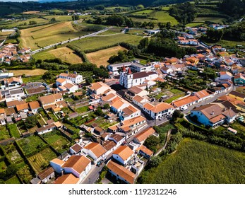 Bird's eye view of the Maia city on San Miguel island, Azores, Portugal.