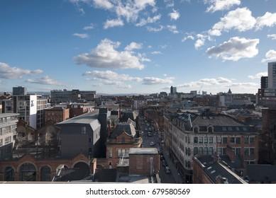 The birds eye view of Manchester city centre, England
