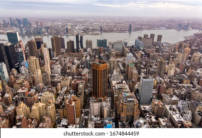 A bird's eye view of Manhattan (New York) skyscrapers