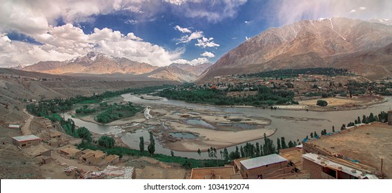 Birds eye view of Mountain City Kargil located in the bed of High Himalayan Mountain amidst Srinagar Leh Highway, Ladakh region, Jammu and Kashmir, India
