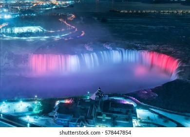 birds eye view of Niagara falls in the winter at night