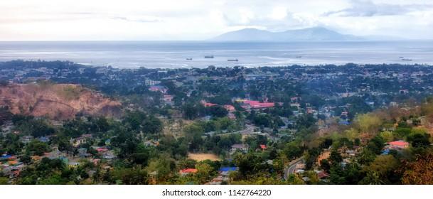 Birds eye view on Dili, capital of Timor Leste (East Timor)