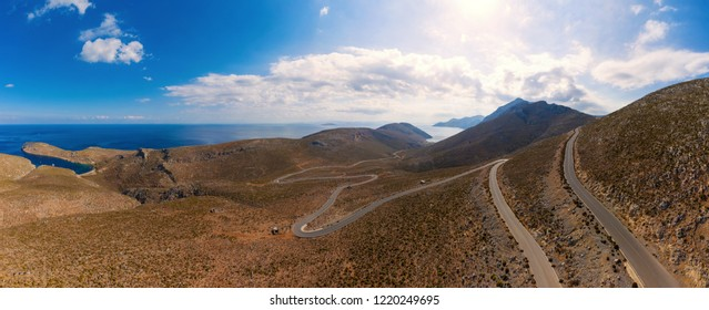 Bird's eye view of road near beach Palionnisou, Kalymnos island, Greece