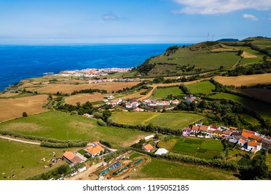 Bird's eye view of the San Miguel island coasts, Azores, Portugal.