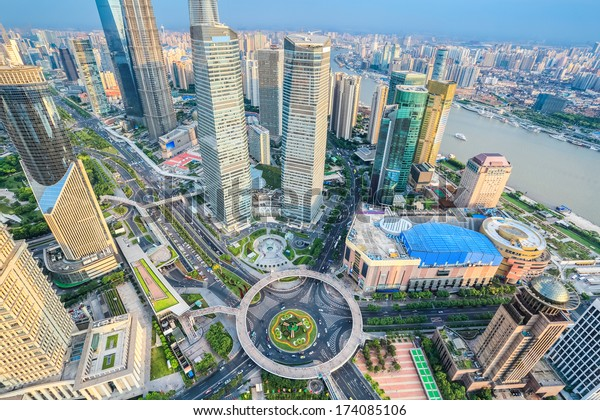 a bird's eye view of shanghai lujiazui financial center in the afternoon, China