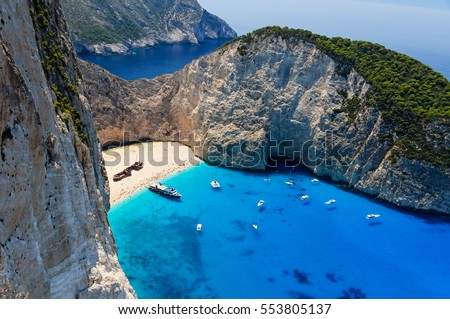 Bird's eye view of Shipwreck bay and beach with tourist ships, Zakynthos, Greece