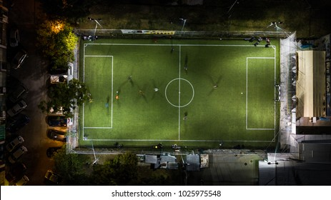 Birds eye view of a soccer / football court