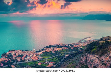 A bird's eye view of the Solanto village. Colorful spring sunset, province Palermo, Sicily, Italy, Europe. Instagram toning.