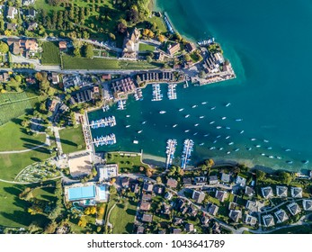 The bird's eye view of the Spiez town of the Switzerland.