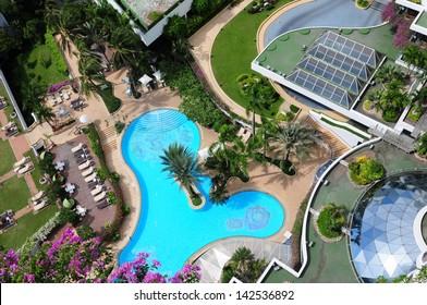 Bird's eye view of swimming pool in hotel