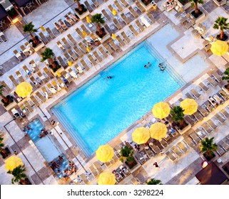 Bird's eye view of a swimming pool at a 5 star hotel.
