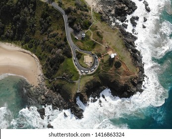 Birds eye view of Tacking Point Lighthouse