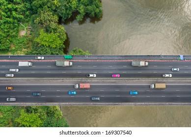 Bird's eye view of traffic on public bridge