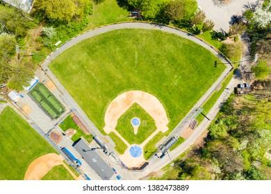 Birds eye view of a training baseball field in Parsippany, NJ,