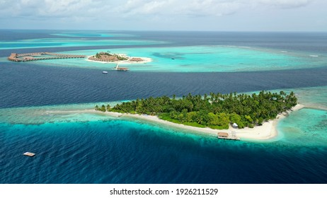 Bird's eye view of tropical islands in the ocean. Maldives