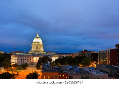 Bird's eye view of the Wisconsin state capital before sunrise.  The building houses both chambers of the Wisconsin legislature along with Wisconsin Supreme Court .