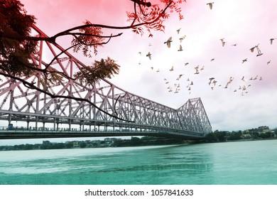 birds fly over howrah bridge, kolkata, india