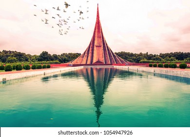 Birds fly Over National Martyrs' Memorial, Dhaka, Bangladesh