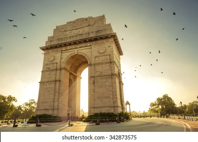 Birds flying over India Gate, New Delhi