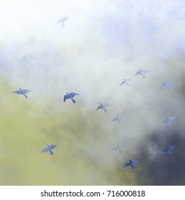 birds flying through the clouds - hand drawn