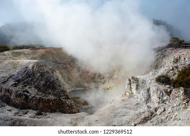 Bird's Nest Crater, Wai-o-tapu near Rotorua, New Zealand. Crater's edge showing  mineral deposits and steam escaping  which heats and incubates the eggs of nesting Swallows and Mynahs.