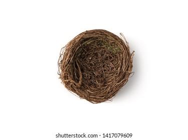 bird's nest on isolated white background