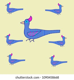Birds  stylized pattern ,stripes, spots.  Hand drawn.