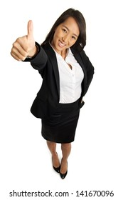 Bird's view of formal Asian Business woman with thumbs up