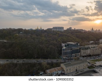 Bird's view of St. Andrew's Church on the Andreev Mountain and the St. Michael's Monastery of the Golden Domes, Volodymyr's hill in Kiev