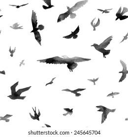 Birds. Watercolor seamless pattern. Raster illustration.