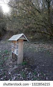 birdseed house at hiking trail in Marburg at Hebronberg Hessen Germany February