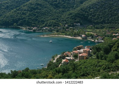 Bird's-eye view of the Boko-Kotor Bay, Montenegro. Adriatic Sea bay.