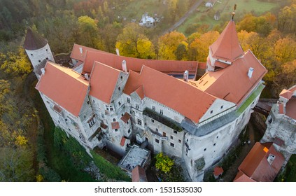 Birdseye view of Pernštejn castle just during flightover with hot air balloon