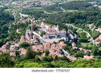 A birds-eye view of the central square and Sintra National Palace in Portugal.