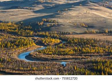 Bird's-eye view of Chuya river, the right tributary of Katun, Altai Republic, Russia.
