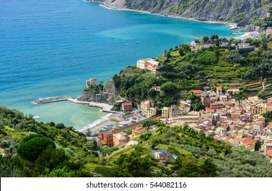 Bird's-eye view of coastal town Monterosso al mare. Located at Italian  Riviera di Levante between Genoa and Capo Corvo, it's one of the main tourist attractions in Cinque Terre National Park.