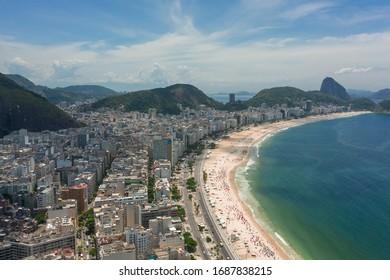 Bird's-eye view of Copacabana beach in Rio de Janeiro