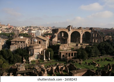 Birdseye view of Forum Romanum with Santi Cosma e Damiano (Temple of Romulus) and Basilica of Maxentius visible